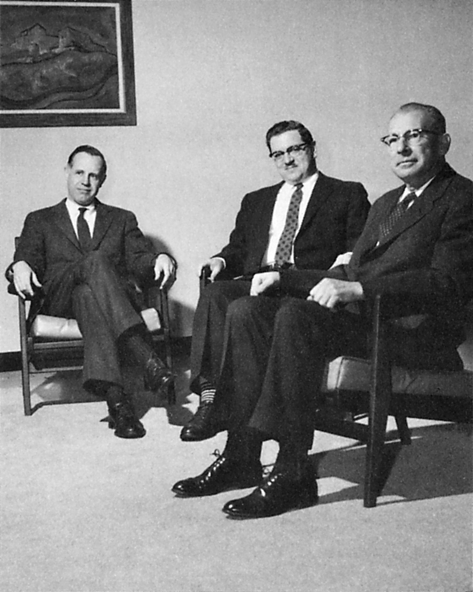 <p>Photograph of Bob Murray, John Rexine, and James C. Austin.</p><p><i>Salmagundi,</i> 1961.</p><p>Colgate University Libraries.</p>