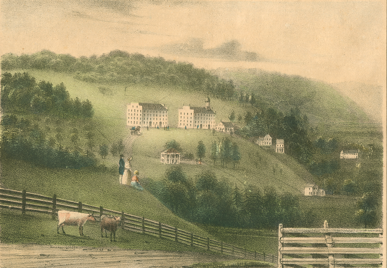 <p>View of Hamilton Literary and Theological Institution, circa 1842.</p><p>Color lithograph. Special Collections and University Archives,</p><p>Colgate University Libraries.</p>