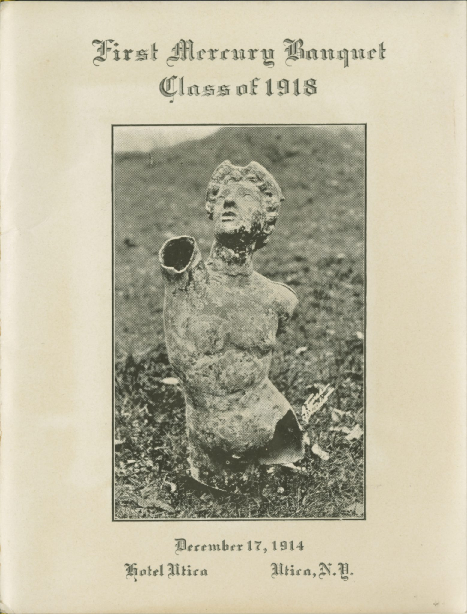<p>Photograph of Mercury from</p><p>Class of 1918 First Mercury Banquet program, 1914.</p><p>Mercury Collection.</p><p>Special Collections and University Archives,</p><p>Colgate University Libraries.</p>