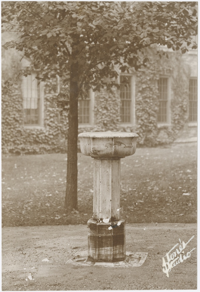 <p>Photograph of Mercury pedestal, circa 1900.</p><p>Photograph by Edward Stone.</p><p>Mercury Collection.</p><p>Special Collections and University Archives,</p><p>Colgate University Libraries.</p>