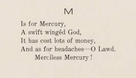 "<p>""M is for Mercury.""</p><p><i>Salmagundi,</i> 1907. Hamilton, NY:</p><p>Colgate University Press, 1906: 204.</p><p>Colgate University Libraries.</p>"