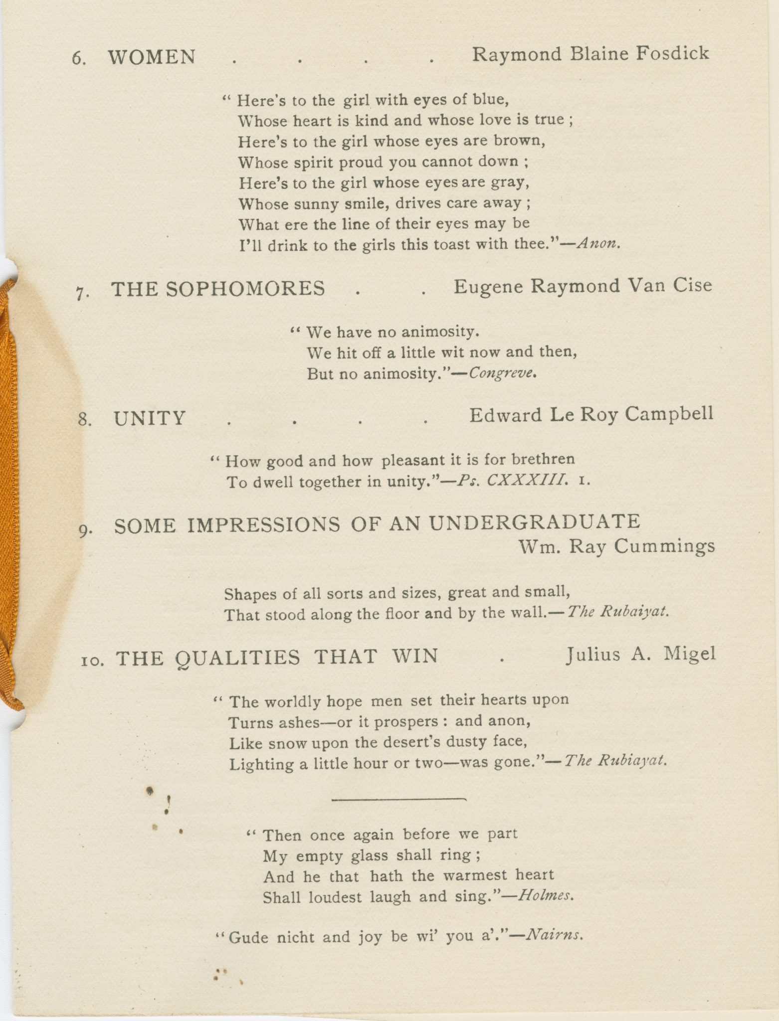 <p>Toasts and Responses page from</p><p>Class of 1905 First Mercury Banquet program, 1902.</p><p>Mercury Collection.</p><p>Special Collections and University Archives,</p><p>Colgate University Libraries.</p>