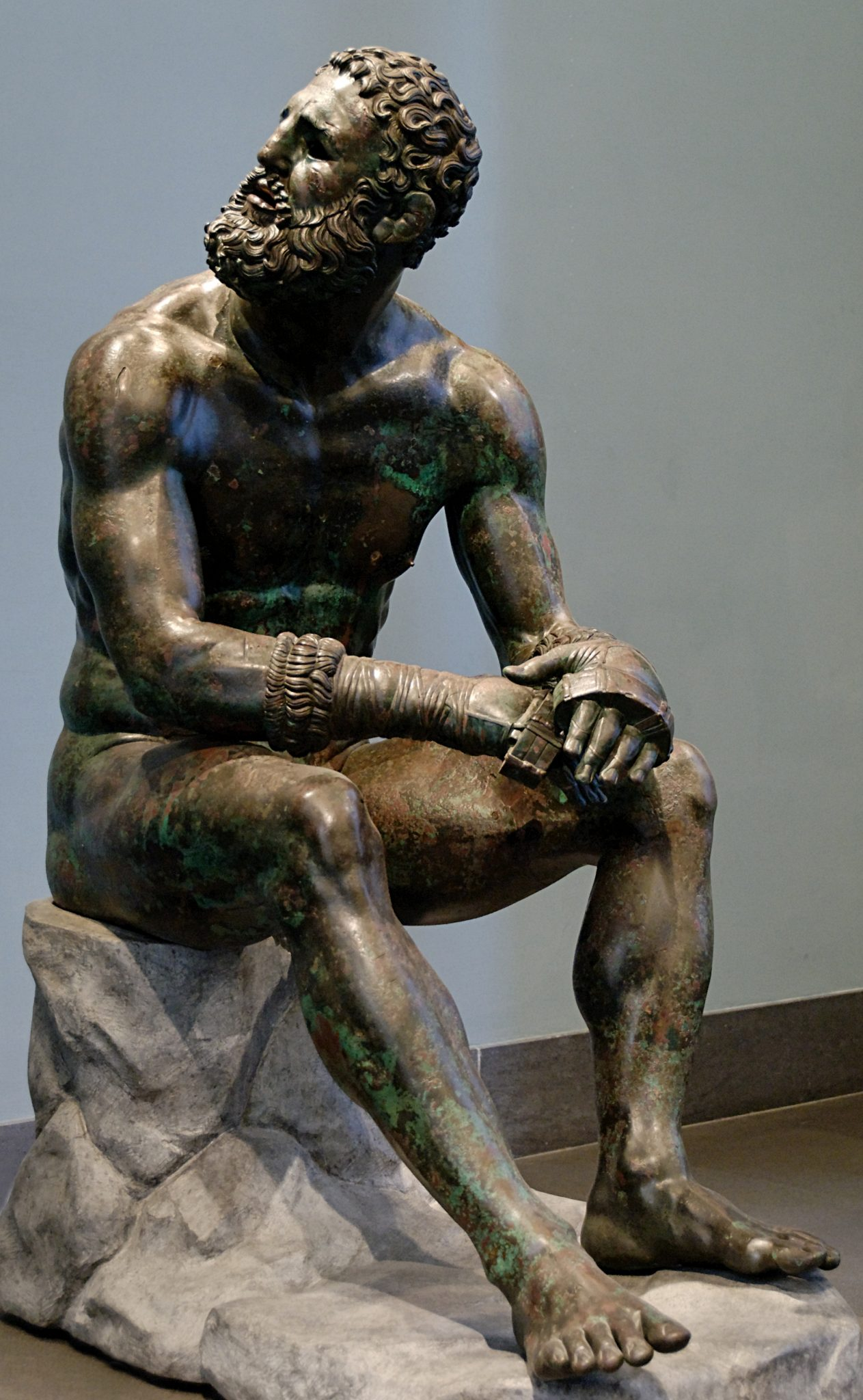 <p><i>The Resting Boxer.</i></p><p>4th c. BCE-1st c. BCE. Bronze.</p><p>Museo Nationale Romano, Rome.</p>
