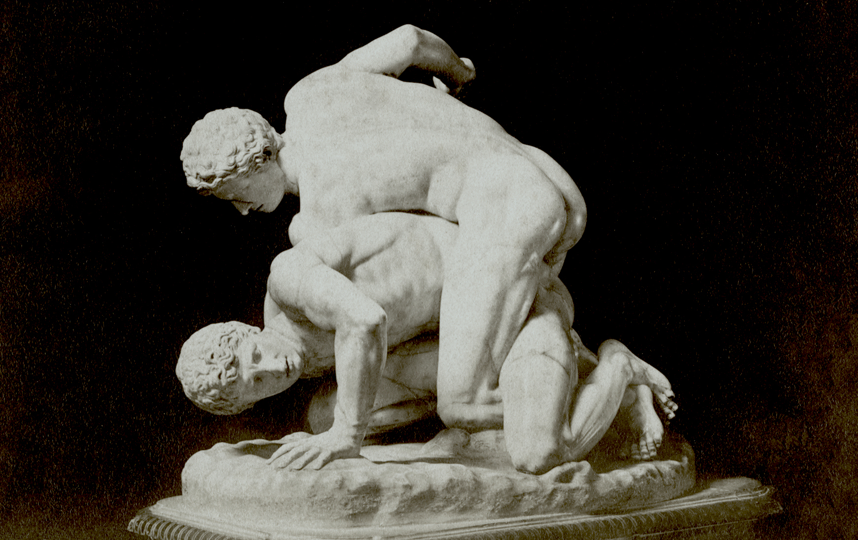 <p><i>The Wrestlers.</i></p><p>Roman copy of original of 3rd c. BCE. Marble.</p><p>Gallerie degli Uffizi, Florence.</p>