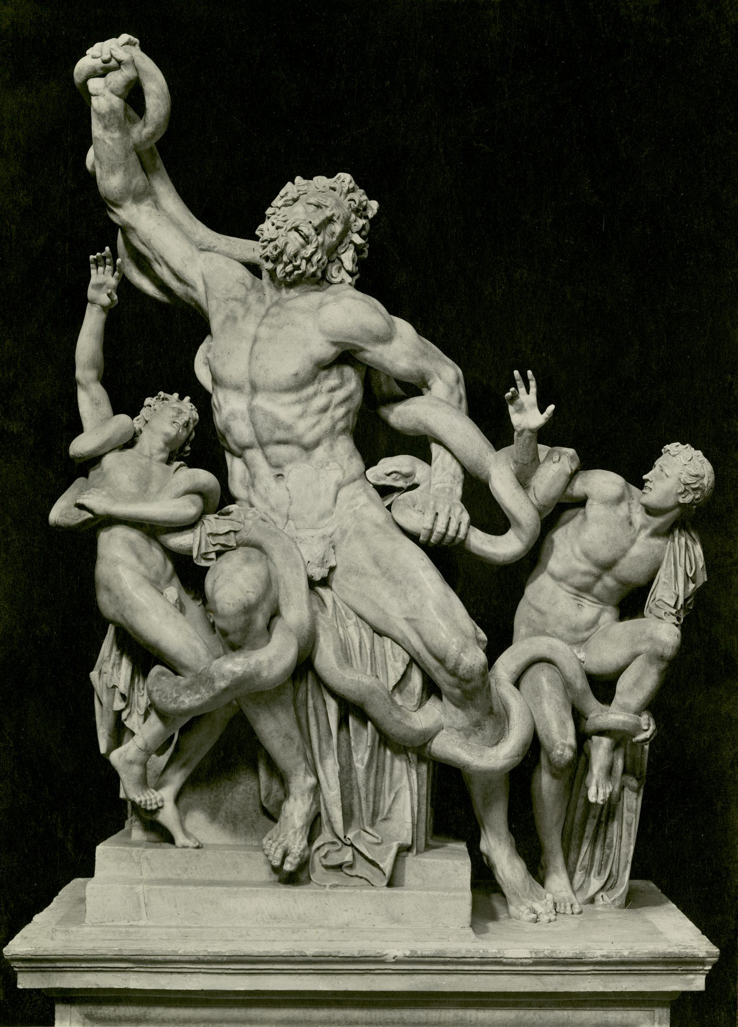 <p><i>The Laocoon and His Sons.</i></p><p>2nd c. BCE- 1st c. CE, attributed to Agesander,</p><p>Athenodorus and Polydorus. Marble.</p><p>Museo Pio-Clementino, Vatican City.</p>