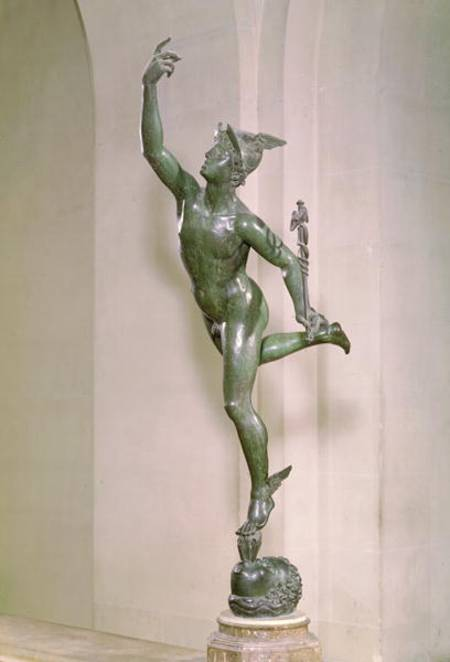 <p>Bronze Statue of Mercury.</p><p>Giambologna 1580. Musée du Louvre, Paris.</p><p>Photograph by Daniel Martin.</p><p>http://www.augustins.org/fr/les-collections/sculptures/renaissance/panorama-des-oeuvres</p>