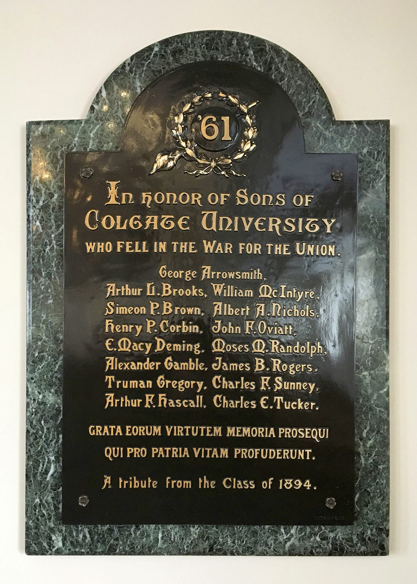 <p>Civil War Memorial Tablet located in Memorial Chapel.</p><p>Photo by Michael Holobosky '19</p>