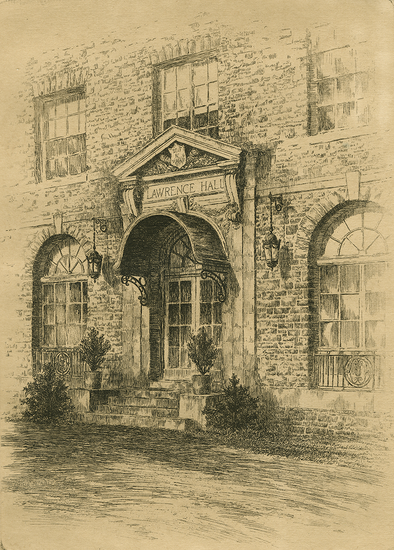 <p>Sketch. Main Door of Lawrence Hall, 1932.</p><p>Special Collections and University Archives,</p><p>Colgate University Libraries.</p>