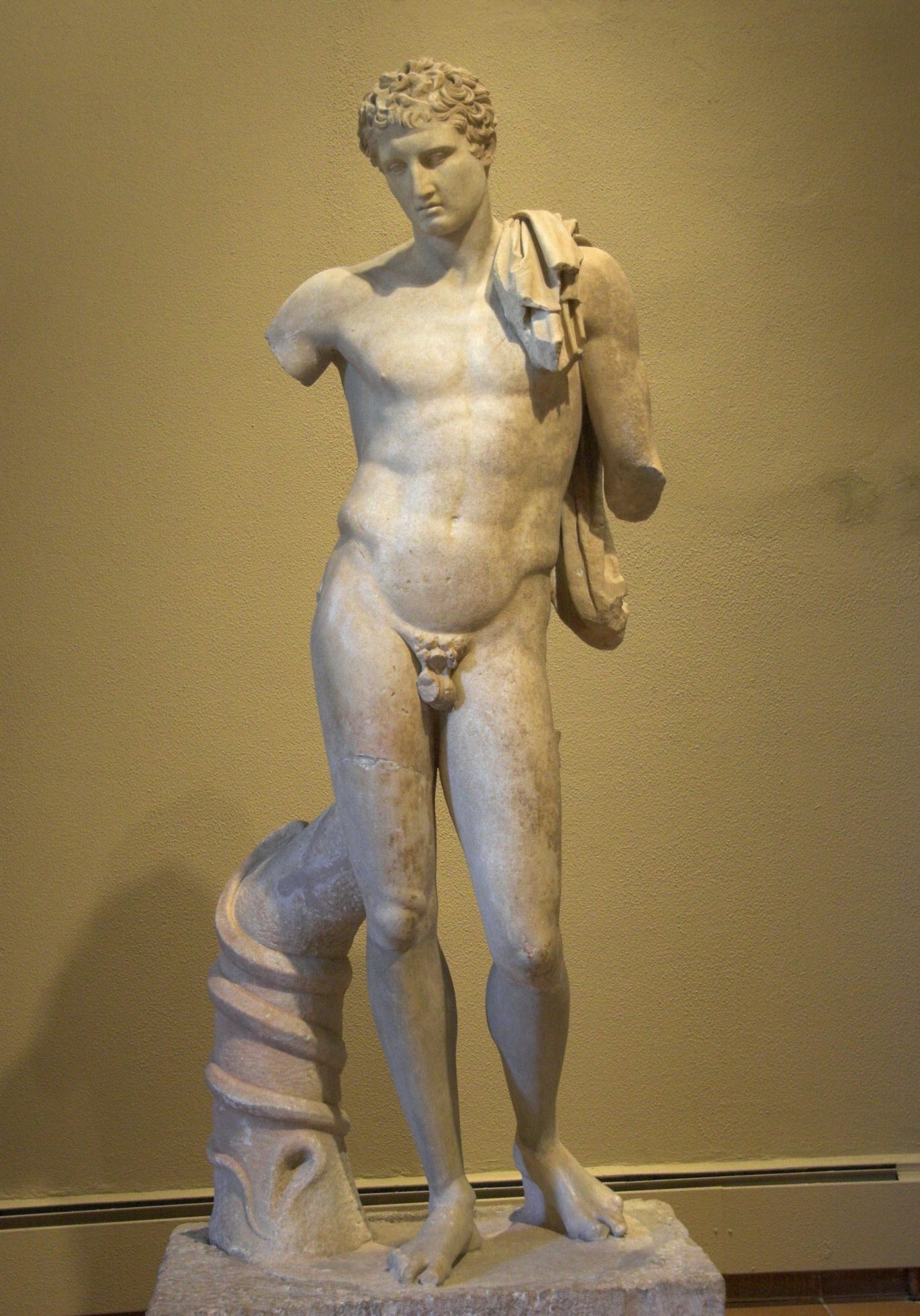 <p><i>The Hermes of Andros.</i></p><p>Roman copy after original</p><p>of c. 350 BCE. Marble.</p><p>Andros Museum, Andros.</p>