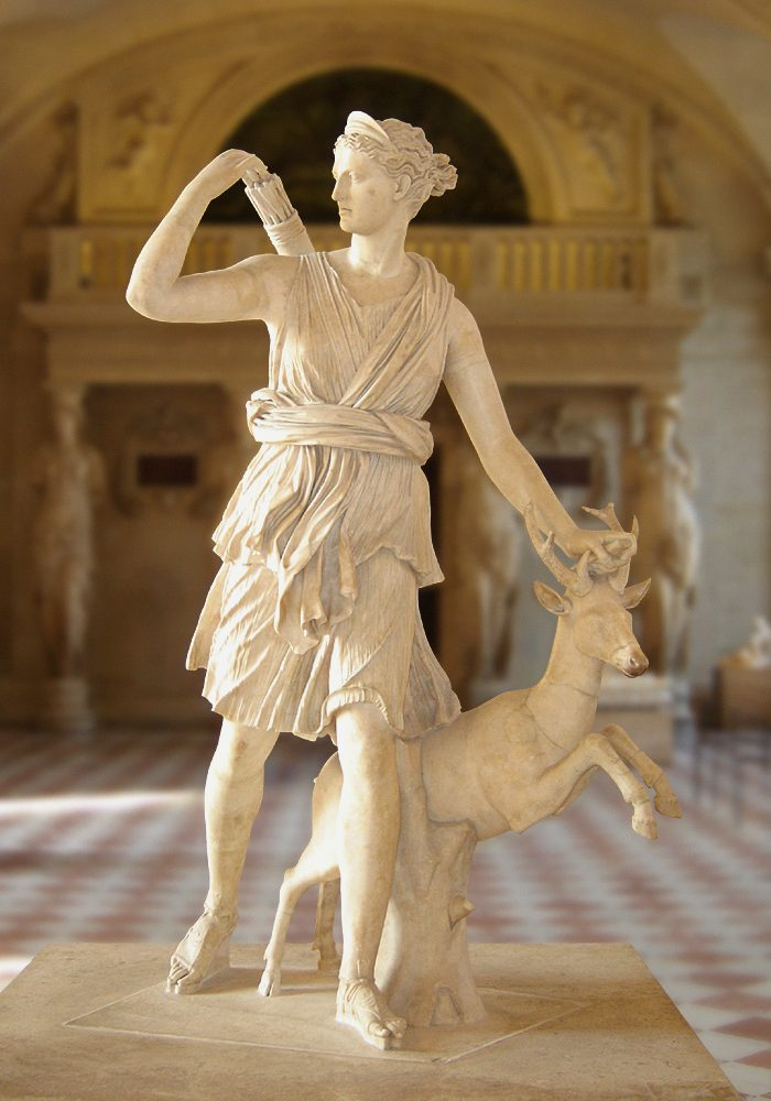 <p><i>The Artemis of Versailles.</i></p><p>Roman copy after original of c. 325 BCE,</p><p>attributed to Leochares. Marble.</p><p>Musée du Louvre, Paris.</p>