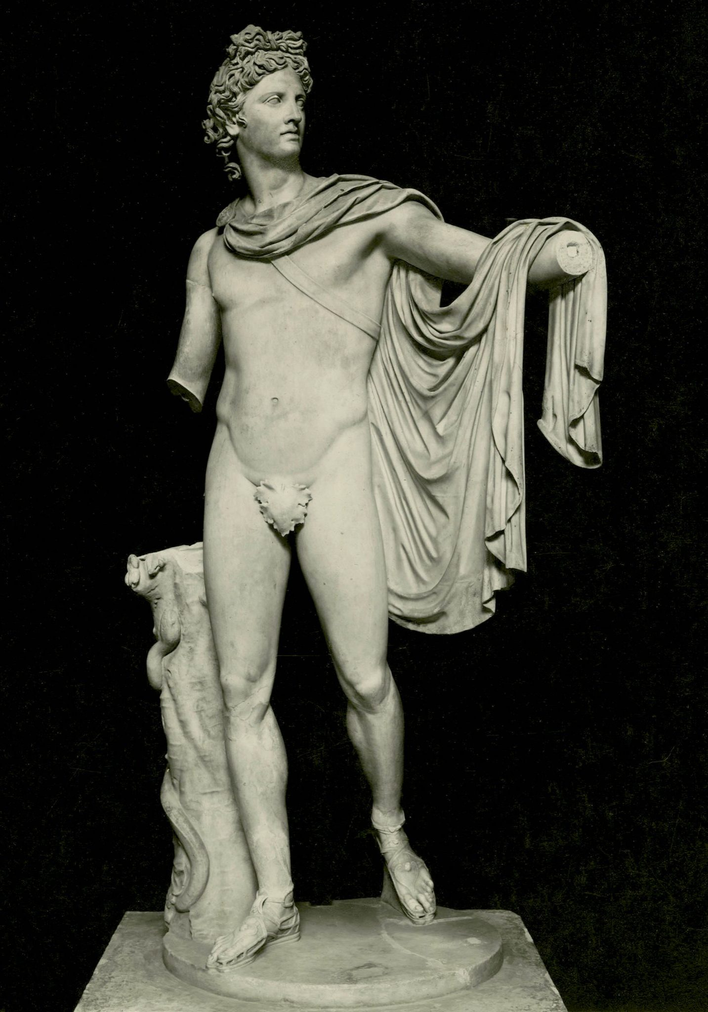 <p><i>The Apollo Belvedere.</i></p><p>Roman copy after original bronze c. 330 BCE</p><p>attributed to Leochares. Marble.</p><p>Museo Pio-Clementino, Vatican City.</p>