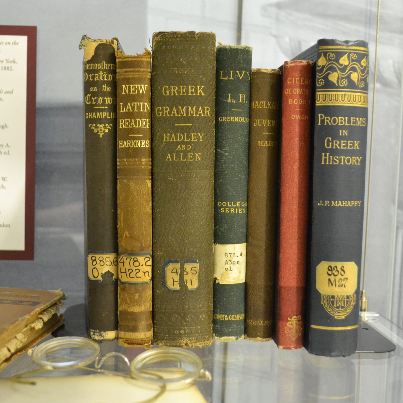 <p>Textbooks from the 1890's desk in Exhibition.</p><p>Photo by Erica Hiddink.</p>