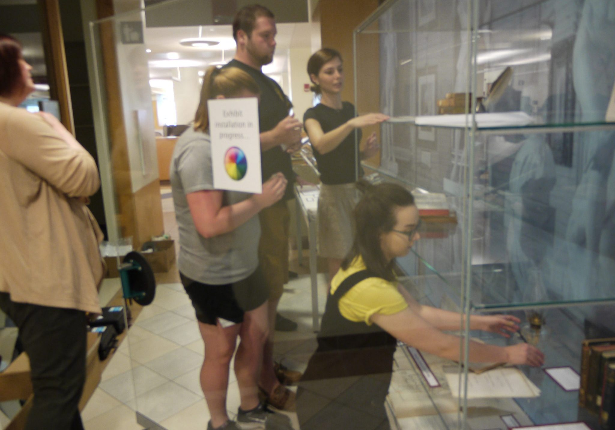 <p>Exhibit installation in Case library.</p><p>Photo By Emily Haines '17.</p>